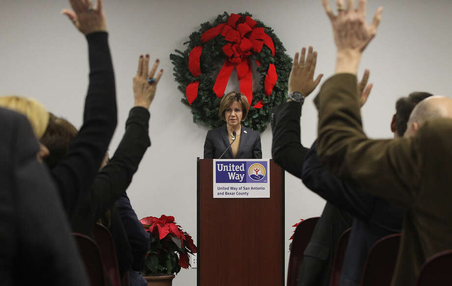 "City Manager and 2013 United Way community campaign chair Sheryl Sculley described the $52.5 million raised so far as ""a huge win for San Antonio."" Photo: John Davenport / San Antonio Express-News / ?©San Antonio Express-News/John Davenport"