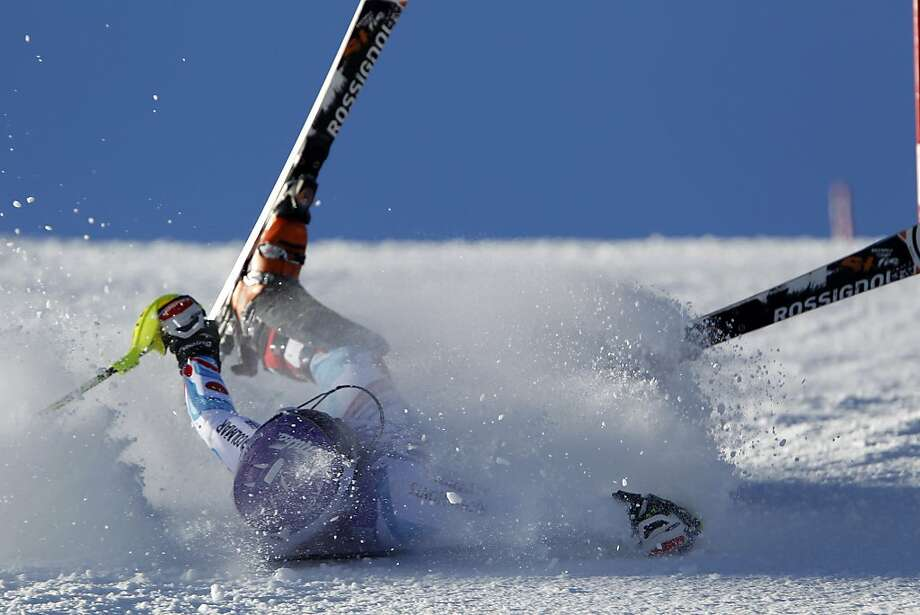 COURCHEVEL, FRANCE - DECEMBER 17: (FRANCE OUT) Tessa Worley of France crashes out during the Audi FIS Alpine Ski World Cup Women's Slalom on December 17, 2013 in Courchevel, France. (Photo by Alexis Boichard/Agence Zoom/Getty Images) *** BESTPIX *** Photo: Alexis Boichard/Agence Zoom, Getty Images