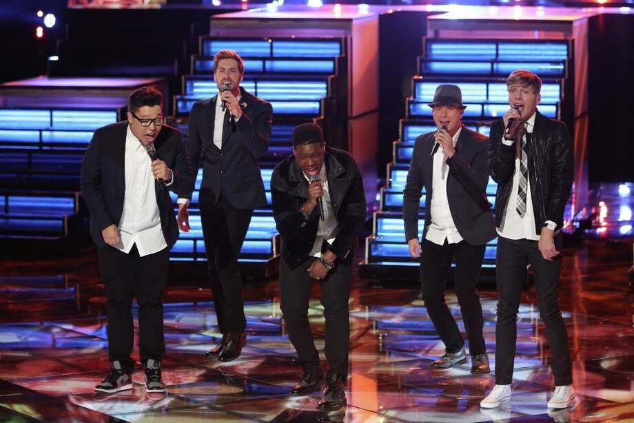 "THE VOICE -- ""Live Finale"" Episode 519B -- Pictured: (l-r) Preston Pohl, Ray Boudreaux, Matthew Schuler, Josh Logan, Nic Hawk -- (Photo by: Tyler Golden/NBC) Photo: NBC, Tyler Golden/NBC / 2013 NBCUniversal Media, LLC"