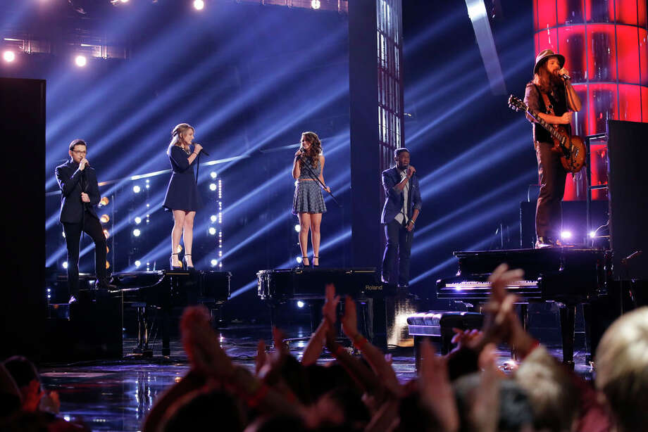 "THE VOICE -- ""Live Finale"" Episode 519B -- Pictured: (l-r) James Wolpert, Caroline Pennell, Jacquie Lee, Matthew Schuler, Cole Vosbury -- (Photo by: Trae Patton/NBC) Photo: NBC, Trae Patton/NBC / 2013 NBCUniversal Media, LLC"