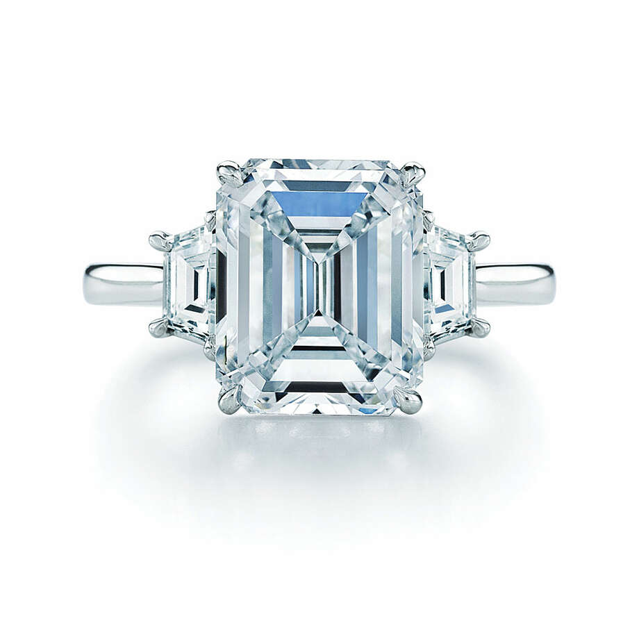Emerald:Sophisticated and majestic, emerald cut diamonds are known for their distinct elegance. The emerald cut features a large table and internal step cuts. While they reflect light less vividly than cuts like the round brilliant, the refined emerald cut has been a favorite among iconic women throughout history. Wearers include Elizabeth Taylor (during her engagement to Mike Todd), Beyoncé Knowles and Grace Kelly. After Brad Pitt proposed to Angelina Jolie with an emerald cut diamond, La Bijouterie in Cow Hollow saw requests for the diamond cut skyrocket. Photo: Russell Starr, Kwiat Emerald Cut Diamond And Platinum Ring With Two Trapezoids