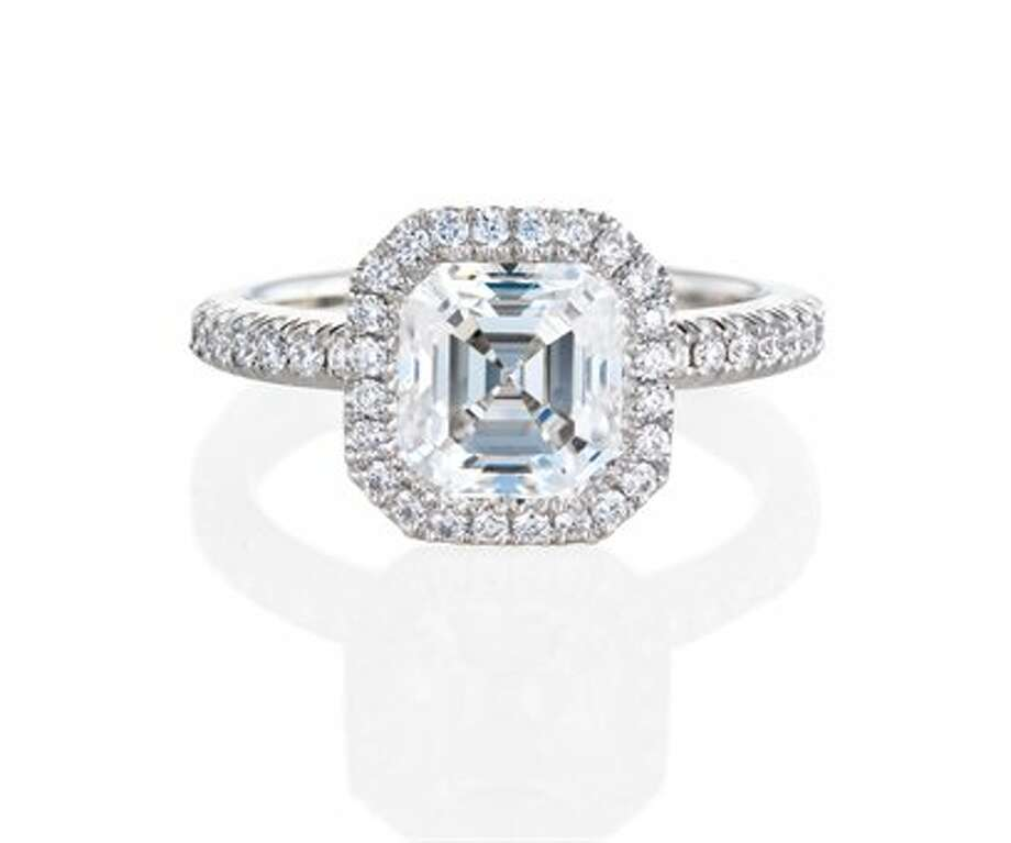 Asscher:Asscher stones came into being at the turn of the 20th century and rose to popularity during the Art Deco movement. The cut is full of character and has striking vintage appeal, but can also look modern when placed in more contemporary-style settings.  While the asscher cut has step cuts like the emerald cut diamond, it has many light-reflecting facets which endow it with more brilliance and sparkle. This striking cut appeals to fashionable women who want a diamond that will stand out while also standing the test of time. Celebrity wearers include Gwyneth Paltrow, Kate Hudson and Jessica Alba. Photo: Aura Solitaire Ring, De Beers