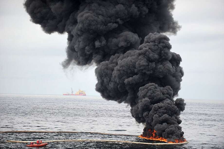 A report by the National Wildlife Federation finds that the 3-year-old BP spill is still having a serious negative effect on the ecology of the Gulf of Mexico and its wildlife populations. Pictured: Smoke billows over a controlled oil fire off the coast of Venice, La., on May 5, 2010. Photo: Contributed Photo