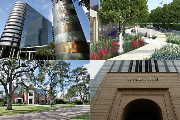 Clockwise, from top left: Greenway Plaza, Sierra Pines in The Woodlands, the Williams Tower, and an image of the River Oaks mansion purchased by Tony Buzbee.
