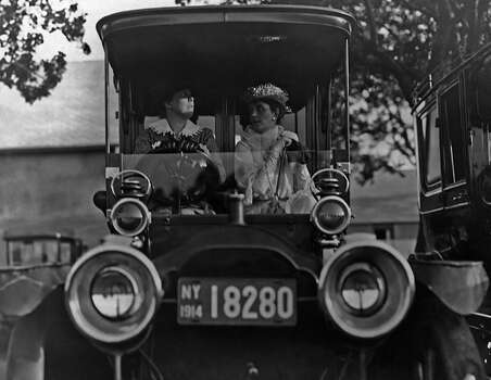 Florence Goadby Lowe and Mrs F.O. Berch drive a car in New York circa 1914. Photo: FPG, Getty Images / 2011 Getty Images