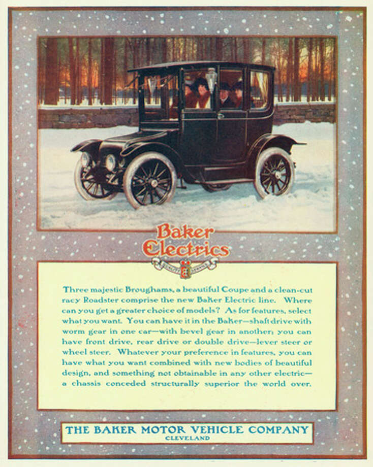 A Baker Electric automobile on a snow covered road is shown in a magazine advertisement from 1914. Photo: Stock Montage, Getty Images / Archive Photos