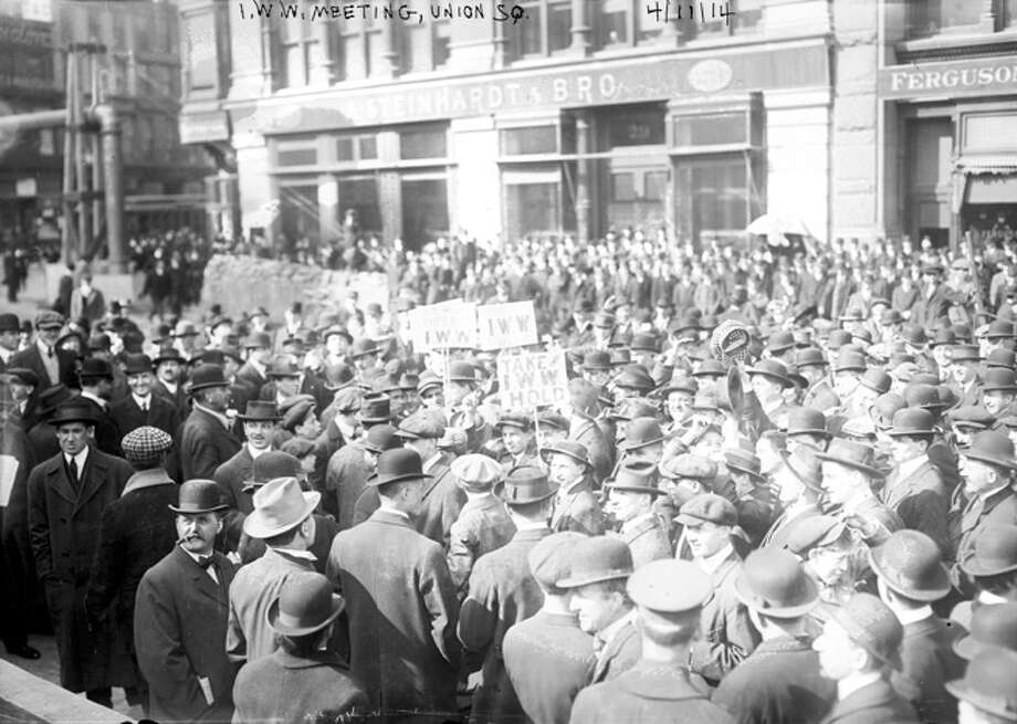 Members of the Industrial Workers of the World (IWW), known as the Wobblies, gather together in a large crowd during a rally in Union Square, New York City, April 11, 1914. Photo: Interim Archives, Getty Images / Archive Photos