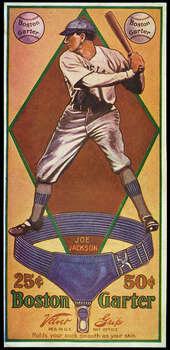 Joe Jackson is the subject of a baseball advertising card produced by the Boston Garter Company in Boston, Mass. in 1914. Photo: Transcendental Graphics, Getty Images / 1914 Transcendental Graphics