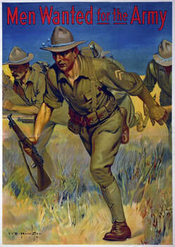 This American recruitment poster shows soldiers with guns running in a field. Photo: Galerie Bilderwelt, Getty Images / 2013 Galerie Bilderwelt