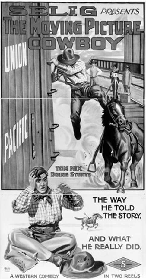 A poster advertises the film 'The Moving Picture Cowboy' starring Tom Mix. Photo: MPI, Getty Images / Moviepix