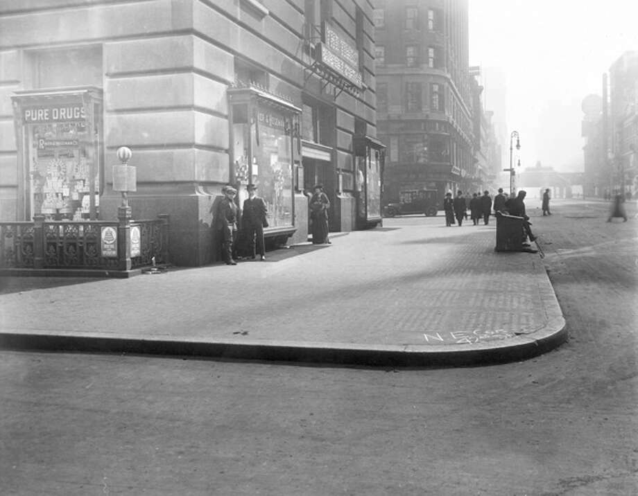 A drugstore in the New York Times Building at the northeast corner of Seventh Avenue and 42nd Street is pictured in New York City. Photo: Hulton Archive, Getty Images / Archive Photos