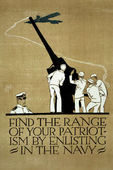 A 1914 recruitment poster shows soldiers firing a cannon as a plane flies over. Photo: Library Of Congress, Getty Images / Archive Photos