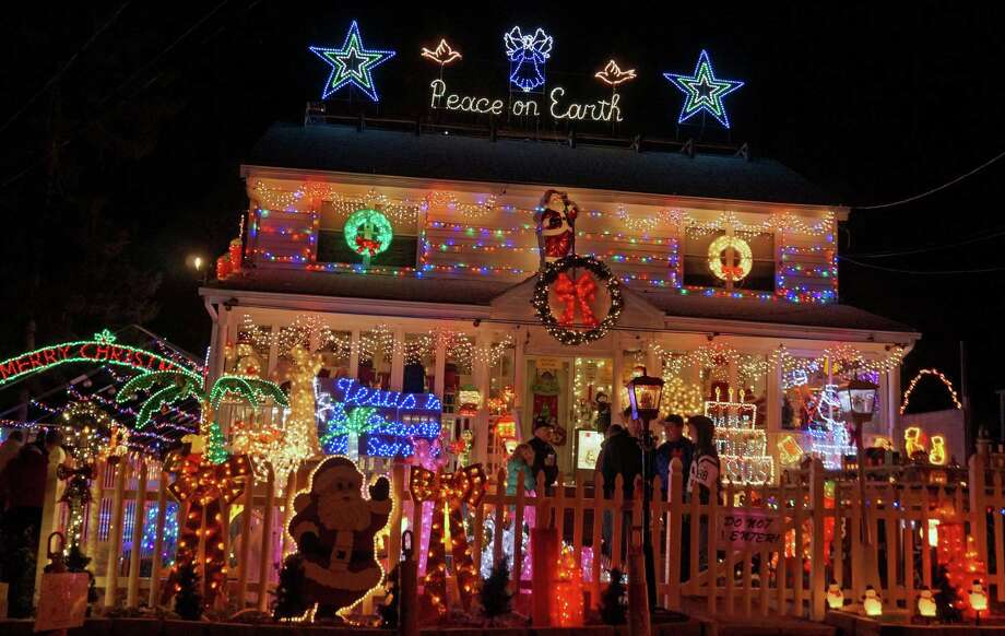 For the 14th consecutive year, a house on Roseville Terrace is all decked out in Christmas lights. The family collects donations forShrines Hospitals for Children. Photo: Genevieve Reilly / Fairfield Citizen