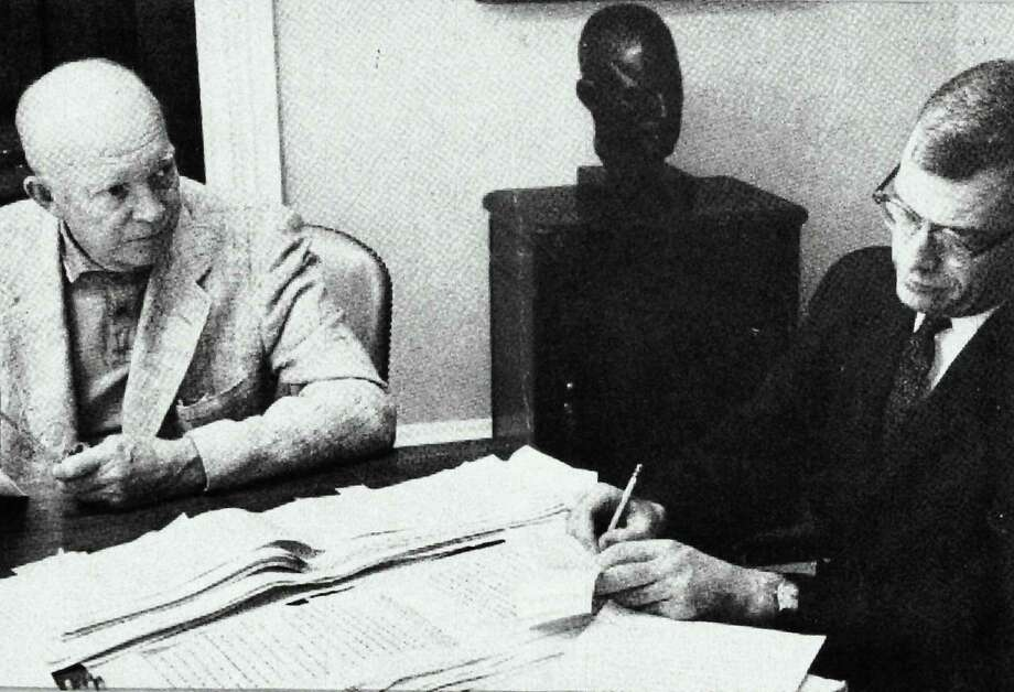 At the time of President John F. Kennedy's assassination, Greenwich resident William B. Ewald, right, was hard at work helping former President Dwight D. Eisenhower write his memoir. Photo: Contributed Photo / Greenwich Citizen