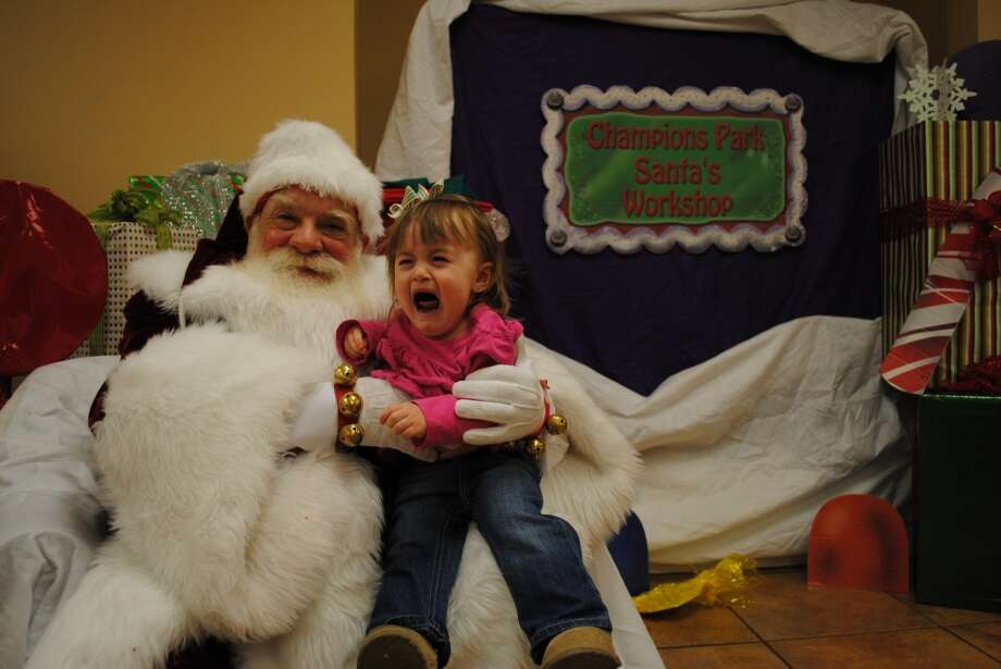 Kenzie's first visit with Santa. She is not a big fan of his at the moment!