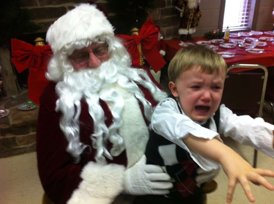 Santa came to town and E.J. ran like the wind E.J. just turned 2.