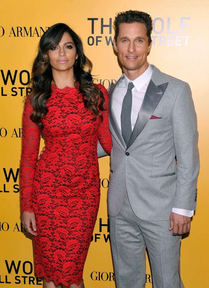 "Camila Alves and Matthew McConaughey attend Giorgio Armani Presents: ""The Wolf Of Wall Street"" world premiere at the Ziegfeld Theatre on December 17, 2013 in New York City. Photo: Stephen Lovekin, Getty Images For Giorgio Armani"