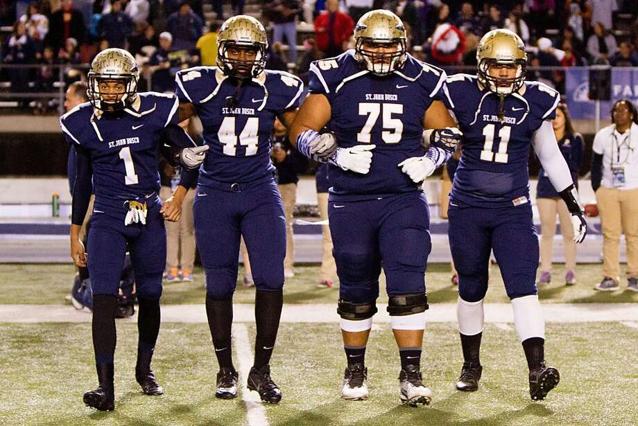 St. John Bosco's Damien Mama (No. 75) is one of the top 40 recruits in the country, according to 247Sports. He's joined by Shay Fields (left), Malik Dorton and Jacob Tuioti-Mariner. Photo: St. John Bosco High School