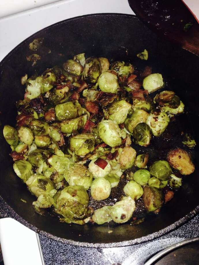 Amanda DeLIsle Wheeler's balsamic Brussels sprouts with bacon.