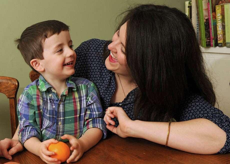 Deanna Fox interacts with her son Eric Goldschmidt, 3, at their home on Wednesday, Nov. 27, 2013 in Delanson, N.Y. (Lori Van Buren / Times Union) Photo: Lori Van Buren