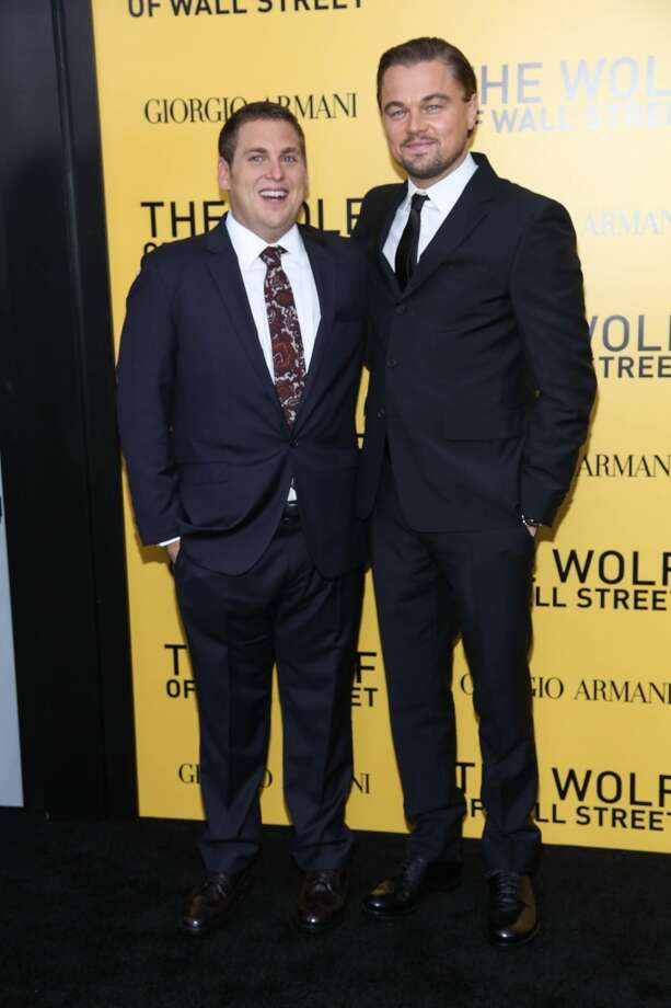 "Leonardo DiCaprio (R) and Jonah Hill attend the ""The Wolf Of Wall Street"" premiere at Ziegfeld Theater on December 17, 2013 in New York City. Photo: Rob Kim, Getty Images"