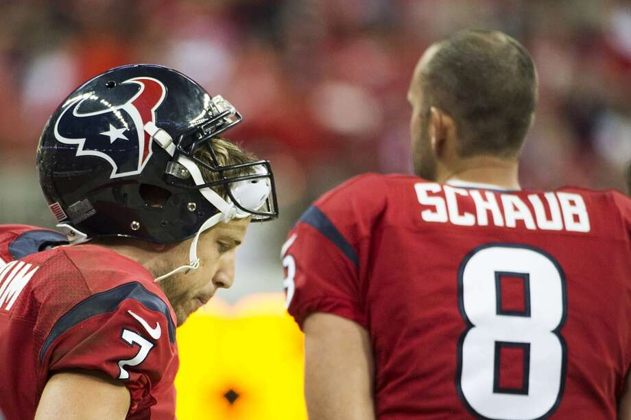 Week 9 vs. Colts  Schaub stands on the sidelines next to starter Case Keenum during the 27-24 loss. Photo: Smiley N. Pool, Houston Chronicle