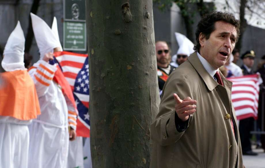 Norman Siegal, head of the New York Civil Liberties Union, speaks to the media during a Ku Klux Klan rally held outside the New York State Supreme Court building Saturday, Oct. 23, 1999, in New York. (AP Photo/Suzanne Plunkett) Photo: AP