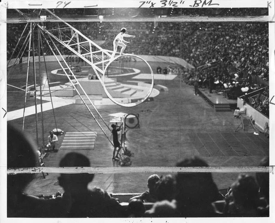 Company parties also seemed bigger. Boeing featured this crazy-looking circus performance at the old Seattle Coliseum as part of its Christmas party for employees in 1968.  Photo: -