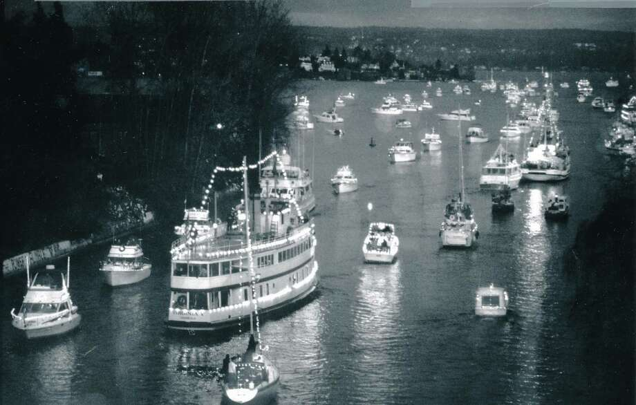 Christmas ships in the Montlake Cut, Dec. 6, 1993.  Photo: -