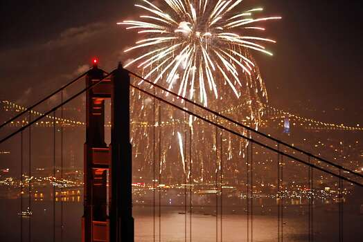 Bridges are a fact of life in both cities. San Francisco's are, well, magnificent. Here is the Golden Gate Bridge last July 4. Photo: Carlos Avila Gonzalez, The Chronicle