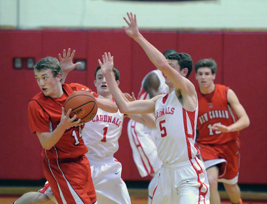 Boys varsity basketball game between Greenwich High School and New Canaan High School at Greenwich, Wednesday night, Dec. 18, 2013. Photo: Bob Luckey / Greenwich Time