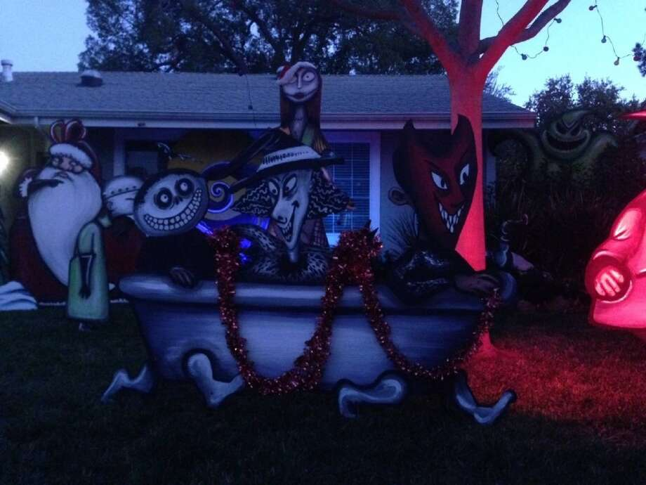 876 St John Cir. Concord, Contra Costa County, 94518 - This house has been decorated for several years with the Nightmare Before Christmas scheme. The Holiday display is hand-painted with great detail and lit from 6 to 10 p.m. nightly. Photo: Lightsofthevalley.com