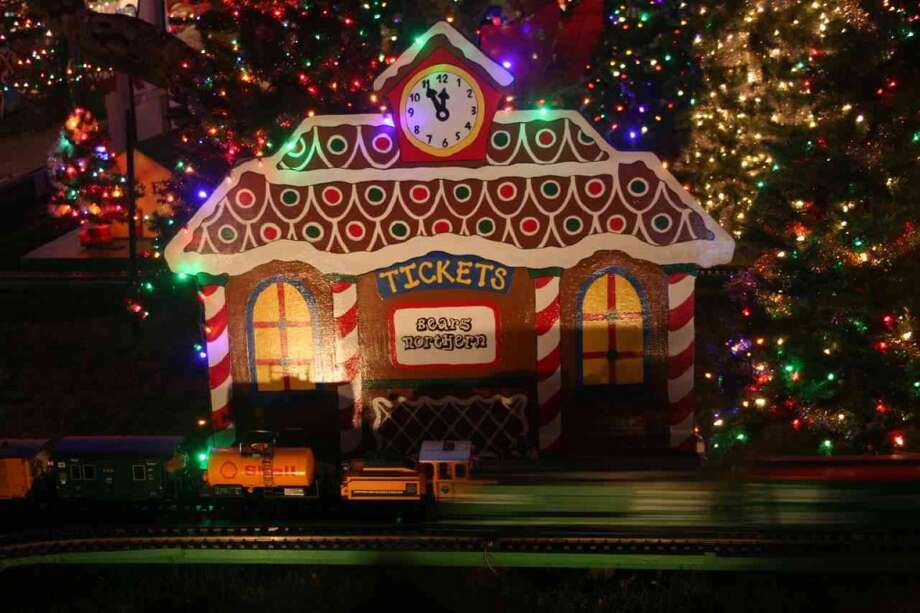 383 Quietwood Dr. San Rafael, Marin County, 94903 - For the 32nd year, this holiday display features six G scale trains on 300 feet of track on four layouts. There are also plenty of animations, including a bear blowing bubbles. Photo: Lightsofthevalley.com
