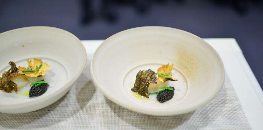 2nd Course: Sunchokes Glazed in Arborio Rice, Caviar, Borage. (The Restaurant) Photo: Bonjwing Lee Photography