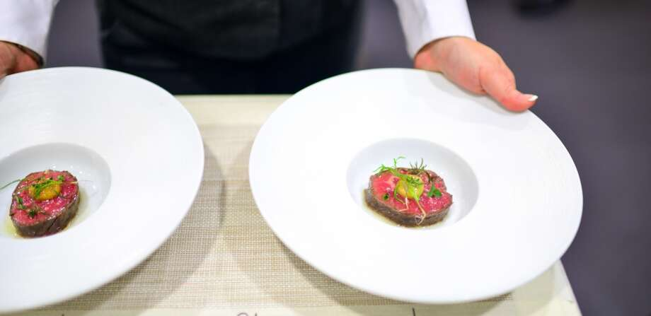 6th Course: Salt-Baked Beef, smoked marrow, herbs. (The Restaurant) Photo: Bonjwing Lee Photography
