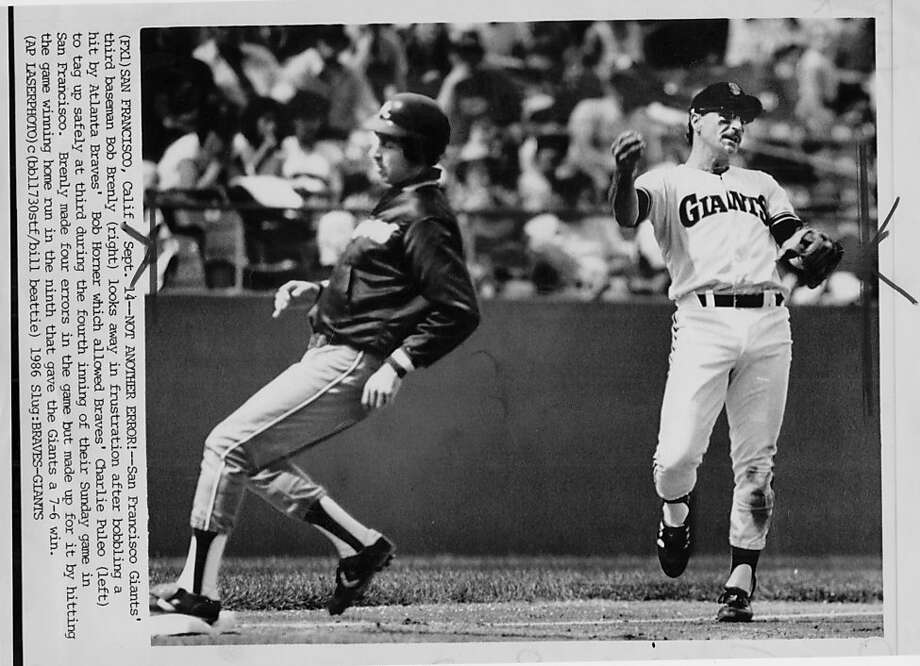 GIANTS BRENLY/B/14SEP867/JPG = FROM ASSOCIATED PRESS L986 FILE PHOTO/   SF GIANTS CATCHER, FATEFUL DAY. FOUR ERRORS , THEN WINING HOMER.  CANDLESTICK PARK CLASSIC SERIES. Photo: AP