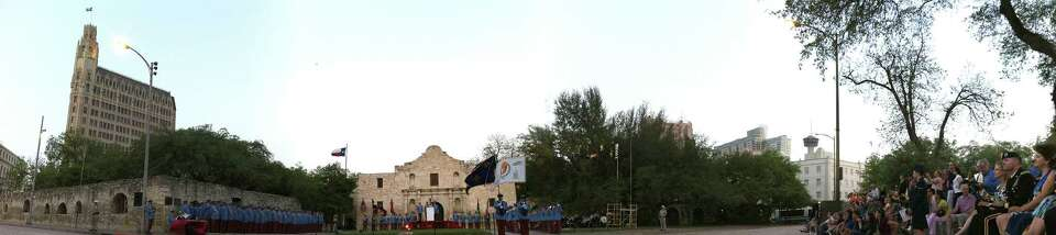 The Texas Cavaliers line up in Alamo Plaza during the investiture of King Antonio, Bill Mitchell, on