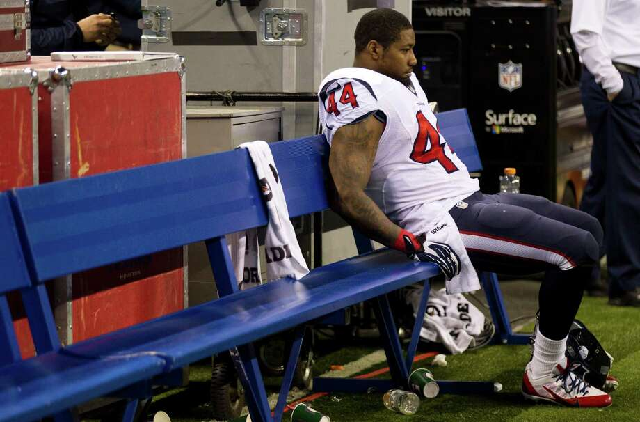 What was likely Ben Tate's last game with the Texans ended quietly, with the running back sidelined after reinjuring his ribs against the Colts. Photo: Brett Coomer, Staff / © 2013  Houston Chronicle