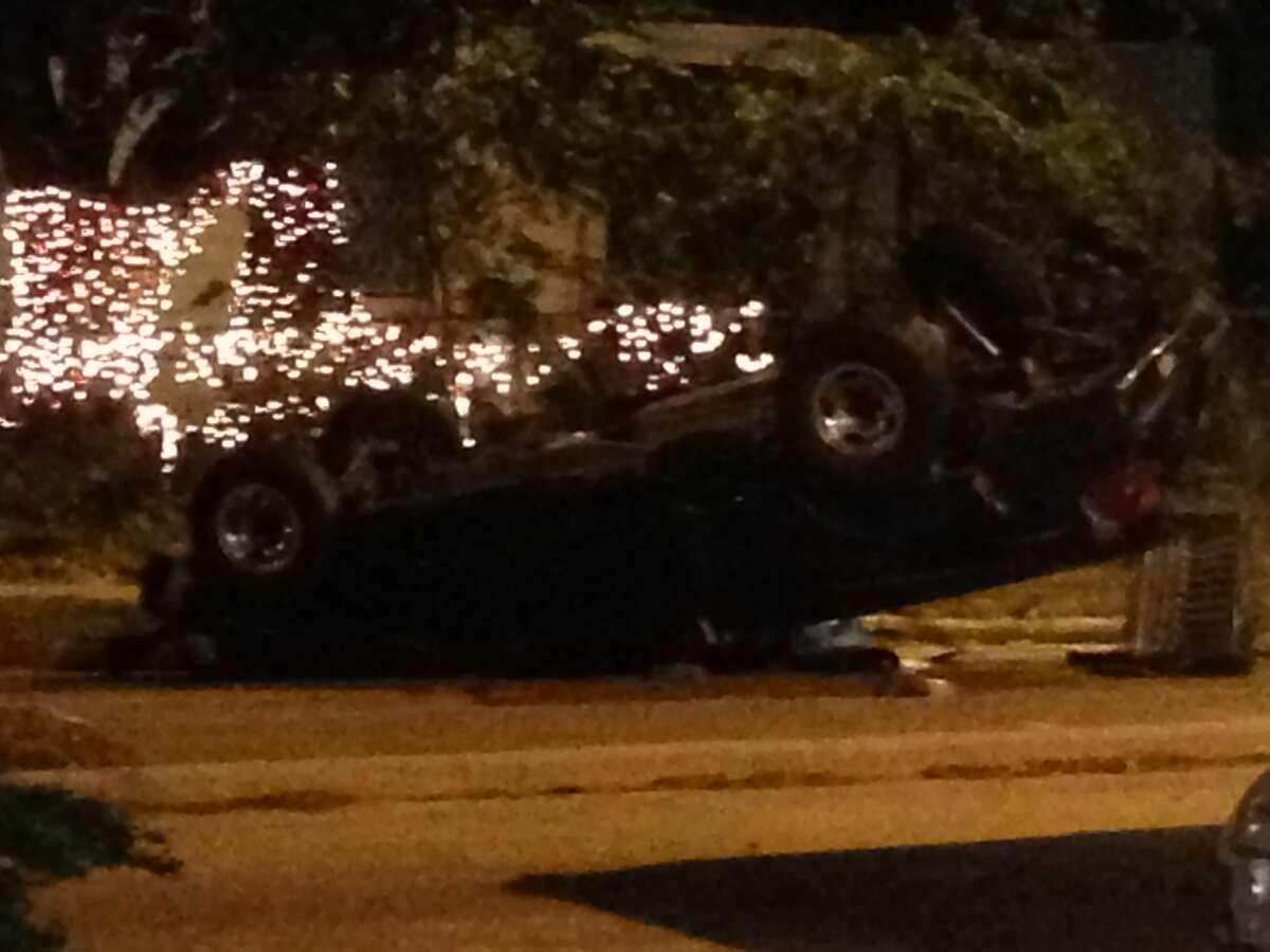 A 16-year-old boy died at the scene of the crash in the 2100 block of Antoine near Hammerly. (Mike Glenn/Chronicle)