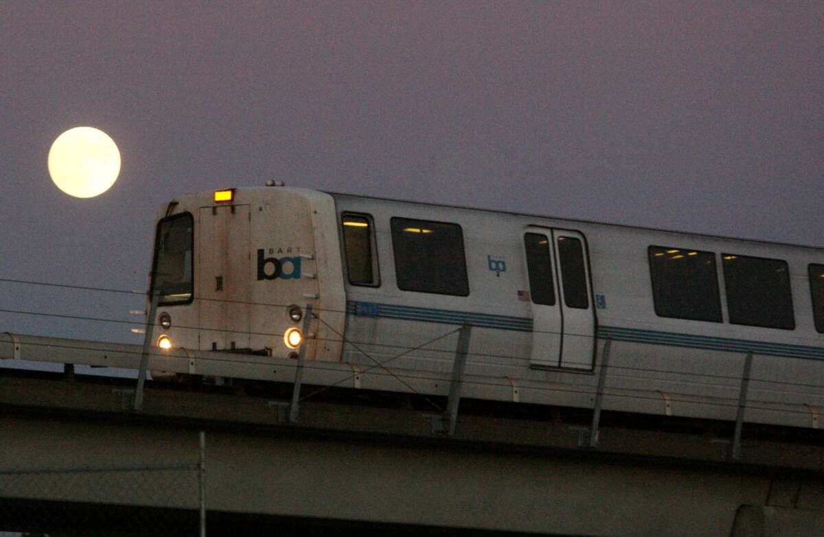 A file photo of a BART train. BART workers will get a chance at up to $500 in bonuses this year under the final labor agreement worked out between BART management and the system's biggestunions.