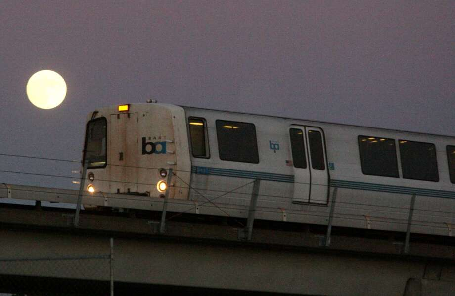 A file photo of a BART train. BART workers will get a chance at up to $500 in bonuses this year under 