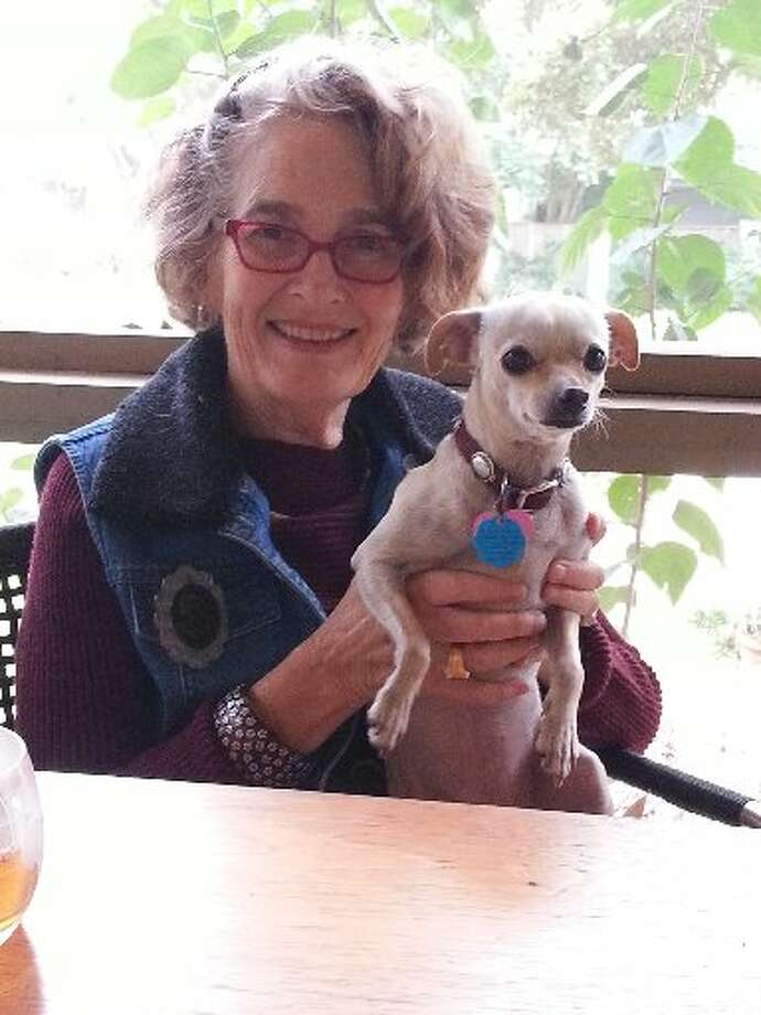 Mary Fisher has made her screened-in porch the happiest room in her house. Here she poses with one of her two Chihuahuas at the dining table. Photo: Emily Spicer, San Antonio Express-News
