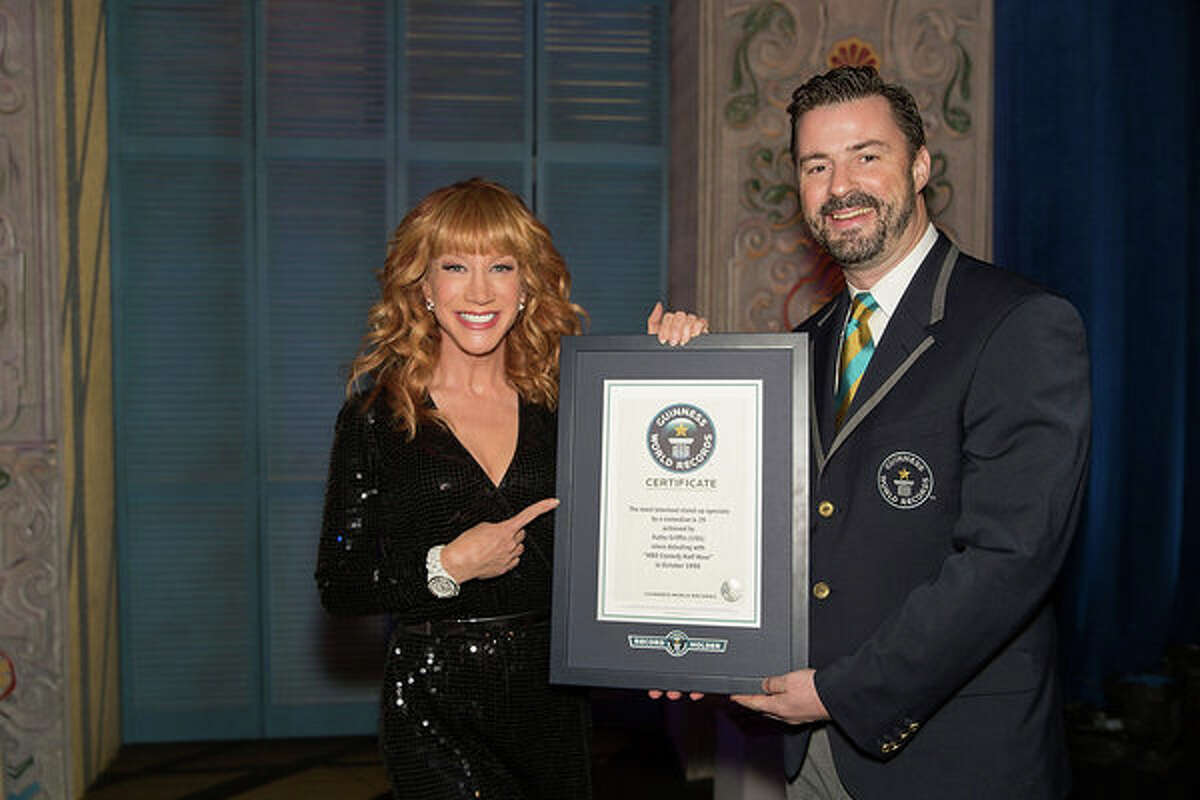During her S.A.-set special, 'Kathy Griffin: Record Breaker,' we see her officially recognized by a Guinness World Records rep with a certificate.