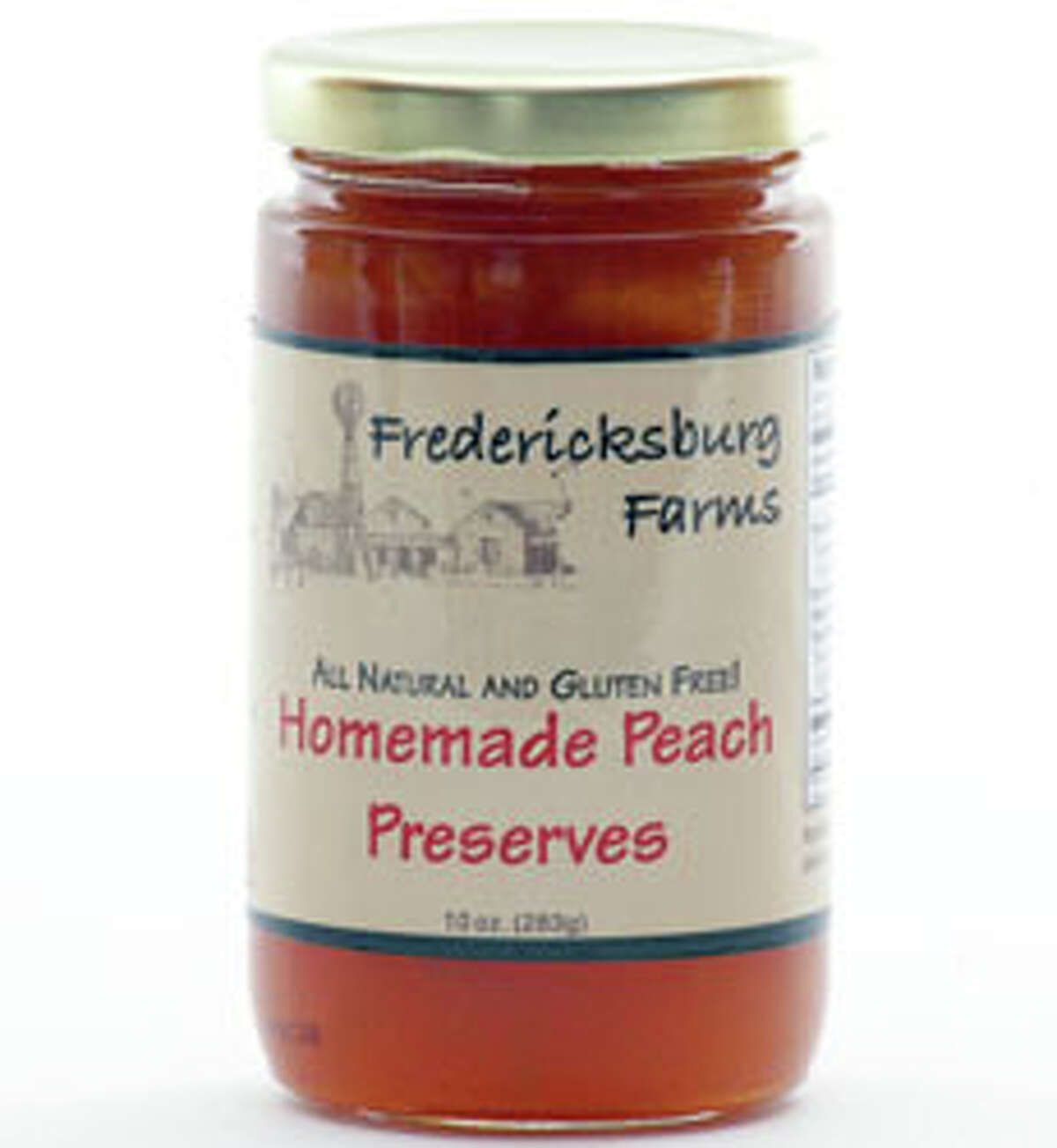 Delicious homeade peach preserves from Fredericksburg Farms for $6.95.
