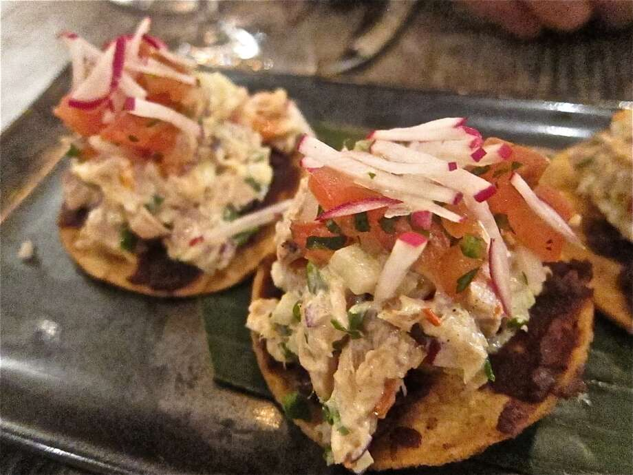 Tostadas of smoked spearfish at Caracol. Photo: Alison Cook