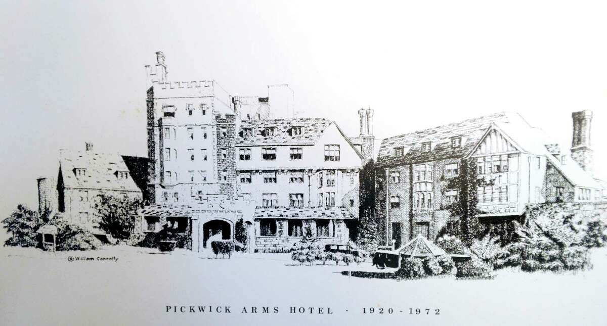 Greenwich artist Bill Connolly's drawing of the Pickwick Arms Hotel which sat at the top of Greenwich Avenue until 1972. A life long native of Greenwich, many of Connolly's pen and ink drawings depict town scenes and can be found hanging in establishments throughout the town. Hidden in the drawings is a squirrel, a signature he adopted when his friends jokingly gave him the nickname of