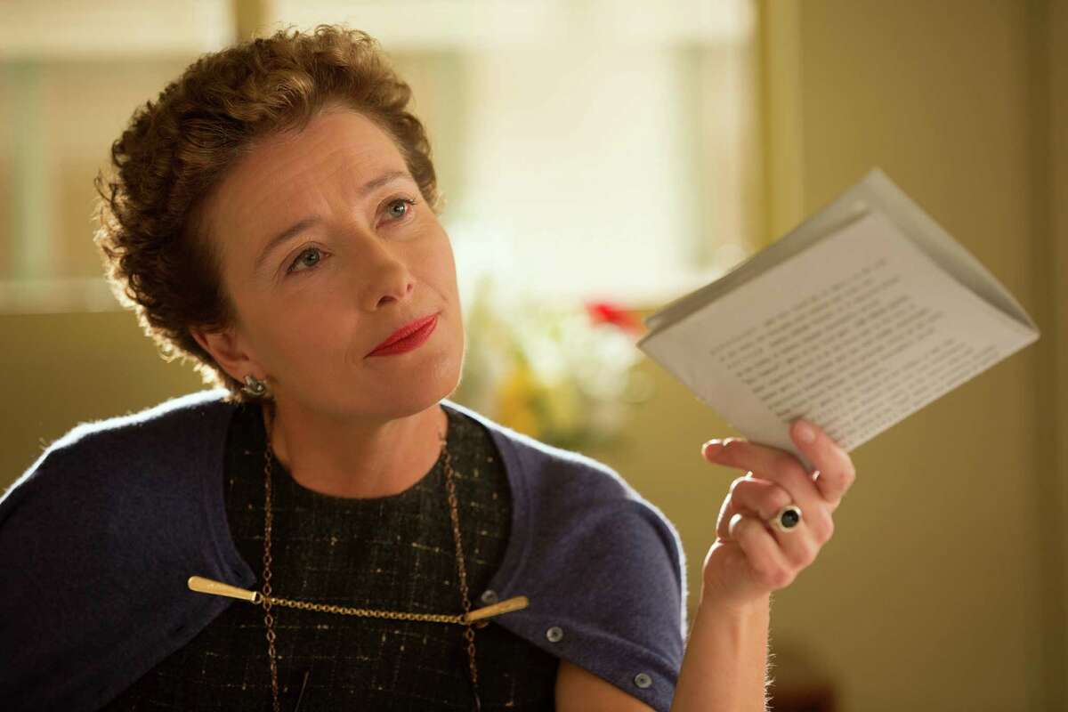 """This image released by Disney shows Emma Thompson as author P.L. Travers in a scene from """"Saving Mr. Banks."""" Thompson was nominated for a Golden Globe for best actress in a motion picture drama for her role in the film on Thursday, Dec. 12, 2013. The 71st annual Golden Globes will air on Sunday, Jan. 12. (AP Photo/Disney, Frané§ois Duhamel)"""