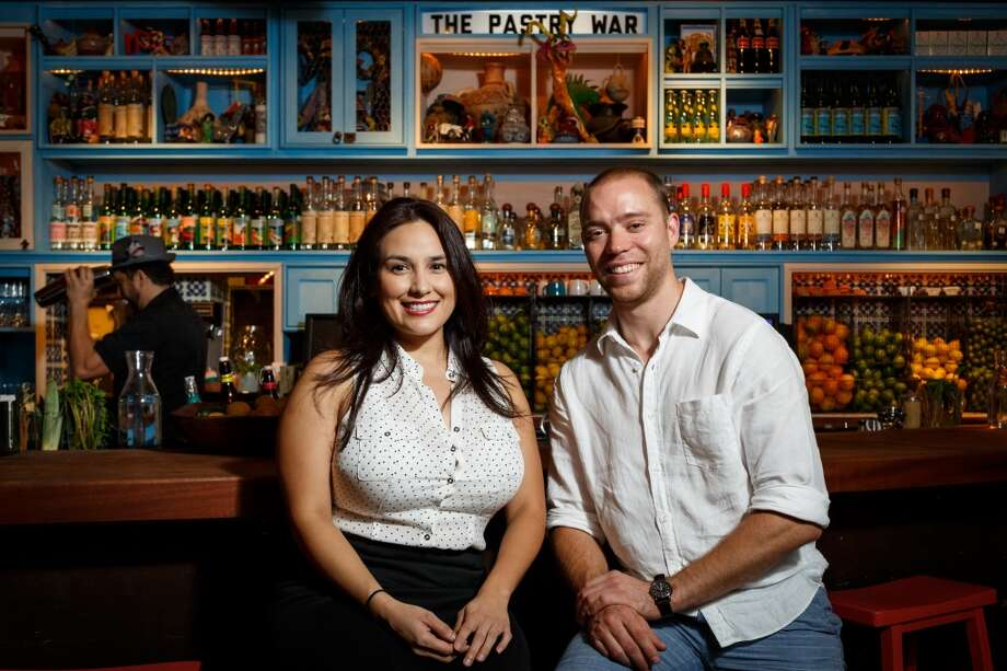 Alba Huerta and Bobby Heugel at The Pastry War, a new tequila bar downtown which serves agave-based spirits: tequila, mezcal and sotol. ( Michael Paulsen / Houston Chronicle ) Photo: Michael Paulsen, Houston Chronicle
