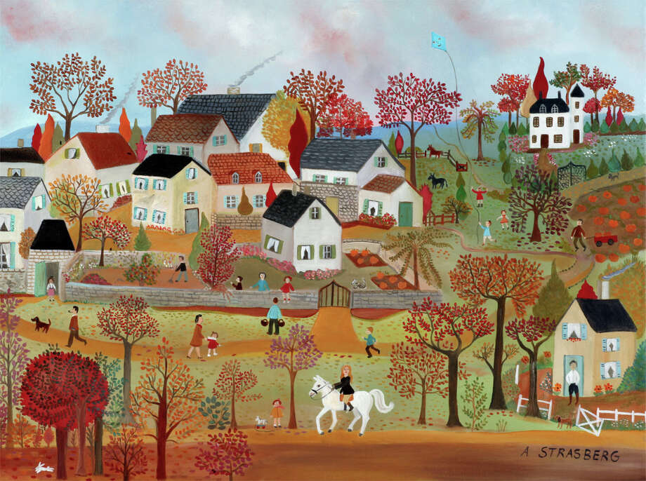 """A Country Stroll"" by French artist Anne Strasberg is on view in ""Aux Quatre Coins du Monde"" at the Les Beaux Arts Gallery in Greenwich. Photo: Contributed Photo / Connecticut Post Contributed"