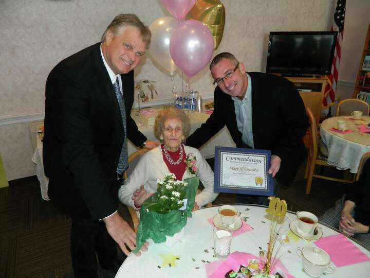 Mary Ormsby marks her 100th birthday on Saturday, Dec. 14, during a party at the Rouse complex in Br